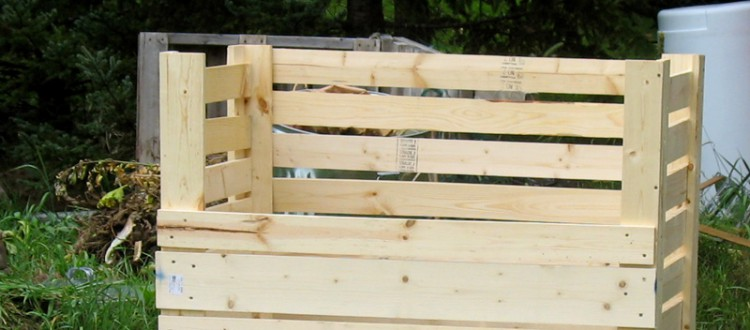 Compost bin made out of 1x4 and 1x6 boards