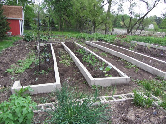 Raised bed progress - only 117 more blocks to go!