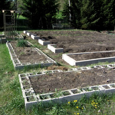 Cement Block Raised Beds