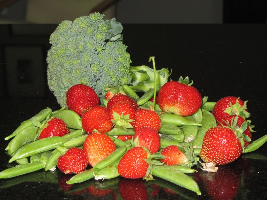 Broccoli, Peas, and Strawberries