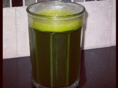 Nettle, spinach, kale, cucumber and carrot juice