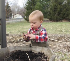 Our little gardener, Cedar playing in his dirt